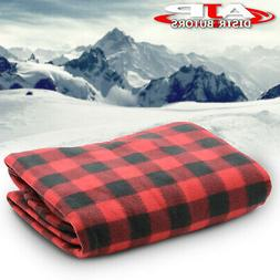 12v heated electric fleece black red checkered