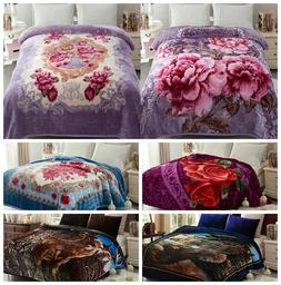 2 Ply Printed Thick Heavy Warm Soft Mink Blanket Queen King
