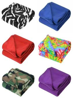 50 x 60 Inch Soft Wholesale Fleece Blankets - 12 Pack Assort