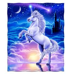 "50""x 60"" Throw Blanket Soft Warm Fleece Unicorn Style Comfy"