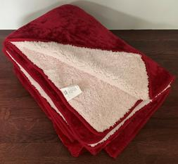 "60""x 80"" red Reversible Faux Fur Fleece Blanket Throw Soft W"