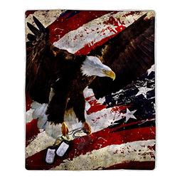 Lavish Home 64-Eagle Sherpa Fleece Blanket, American Flag Ba