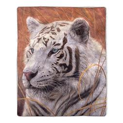 Lavish Home 64 Sherpa Fleece Blanket, White Tiger Print