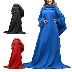 65 Inch Fleece Wearable Blanket With Sleeves And Pocket Micr