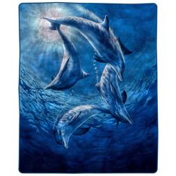 Lavish Home 66-B-Dolphins Heavy Fleece Blanket with Ocean Pa