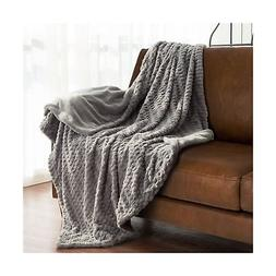 Bedsure Faux Fur Fleece Throw Blanket 60x80 Grey Rustic Home