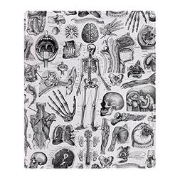 CafePress Anatomy_W_Twin_Duvet Soft Fleece Throw Blanket, 50