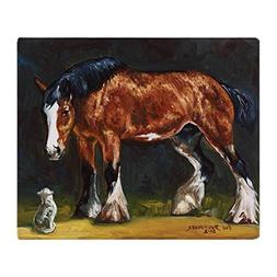 CafePress - Clydesdale Horse And Cat - Soft Fleece Throw Bla