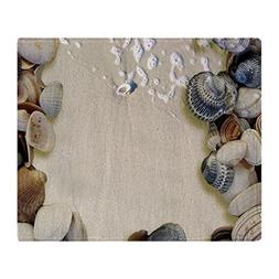 CafePress - Summer Ocean Beach Seashells - Soft Fleece Throw