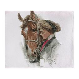 CafePress - Vintage Girl And Horse - Soft Fleece Throw Blank