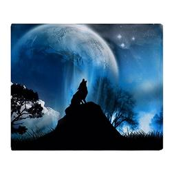 CafePress - Wolf Howling At The Moon - Soft Fleece Throw Bla
