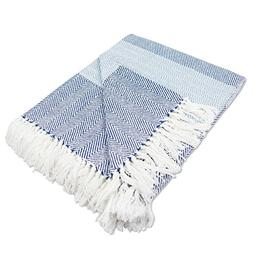 DII Rustic Farmhouse Cotton Stripe Blanket Throw with Fringe