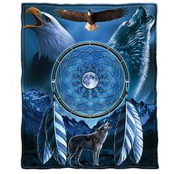 Dawhud Direct Dream Catcher with Wolf and Bald Eagle, Blue F