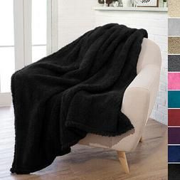 PAVILIA Plush Fuzzy Sherpa Throw Blanket for Couch Sofa Bed