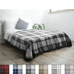 "PAVILIA Fleece Plaid Sherpa Twin Size Bed Blanket 60"" x 80"""