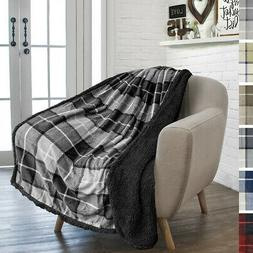 Plaid Throw Blanket for Couch Sofa Bed Sherpa Fleece Soft Mi