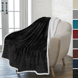 Sherpa Blanket Throw Soft Fleece Reversible Blanket Sofa Cou