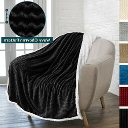 Sherpa Plush Fleece Throw Blanket for Sofa Couch Bed Reversi