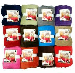 Super Soft Luxurious Fleece Throw Blanket 12 Solid Colors Qu