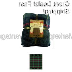 Adirondack Lodge Green Plaid with Bears Soft Coral Fleece Th