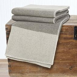 Bedford Home 100% Australian Wool Blanket, Full/Queen, Plati