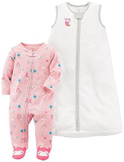Carter's Baby Girls' 2-Pack Fleece Sleep and Play With Sleep