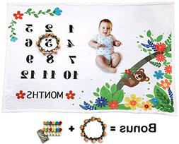 Baby Monthly Milestone Blanket for Boy Girl, Large Personali