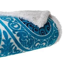 Bedford Home Printed Coral Soft Fleece Sherpa Throw Blanket,