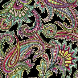 """Black Paisley Floral  Fleece Fabric - 60"""" Wide - Style# 4102"""