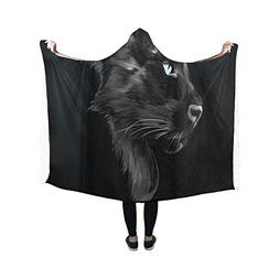 Black Panther Hooded Blanket Pilling Polar Fleece Hooded Thr