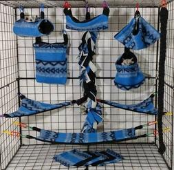 Blue Aztec Blanket *15 PC Sugar Glider Cage set * Rat * doub