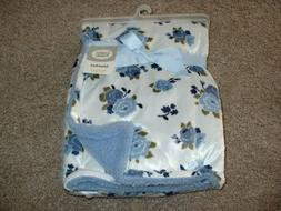 Luvable Friends Blue Floral Baby Girls Blanket Minky Sherpa