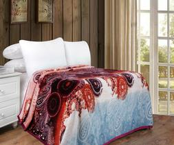 DaDa Bedding Bohemian Floral Paisley Red Soft Warm Flannel F