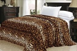BOON Animal Printed Flannel Fleece Blanket w/ Zebra Leopard