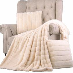 BOON Rabbit Faux Fur Throw Blanket with 2 Pillow Shell Combo