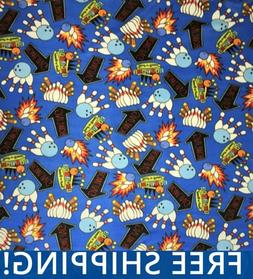 "Bowling Games Fleece Fabric - 60"" Wide - Style# 1204 - Free"