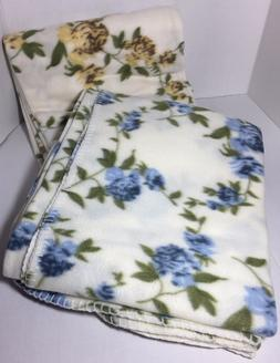 """SET OF 2 FLEECE FLORAL THROWS BLANKETS 50"""" X 60"""" warm yellow"""