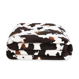 brown cow print warm and cozy coral