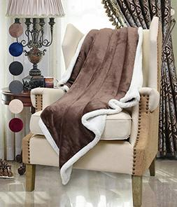 Brown Sherpa Throws Blanket,Super Soft Comfy Micro Mink Flee