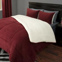 Lavish Home 3 Piece Burgundy King Sherpa Puffy Comforter Set