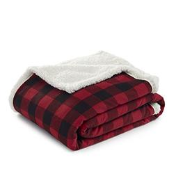 Cabin Plaid Flannel Sherpa Throw Red -  - Eddie Bauer®