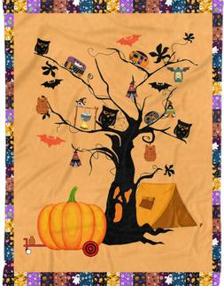 Camping Hallowee By The Tree  Fleece Blanket, Quilt Blanket