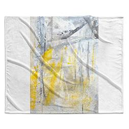 KESS InHouse Carollynn Tice Abstraction Grey Yellow Fleece T