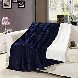 MUKKA Casual Sherpa Blanket Navy Blue -Reversible Plush Flan