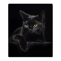 "CafePress Black Cat Soft Fleece Throw Blanket, 50""x60"" Stadi"