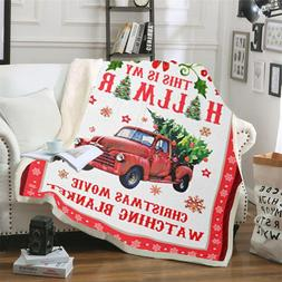 Christmas Watching <font><b>Blanket</b></font> Printed Sherp