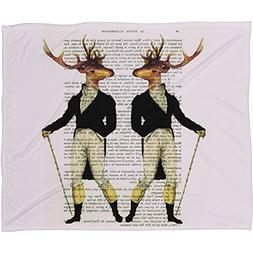 Deny Designs  Coco De Paris, 2 Vintage Deer, Fleece Throw Bl
