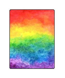 QH Colorful Rainbow Printing Velvet Plush Throw Blanket Comf