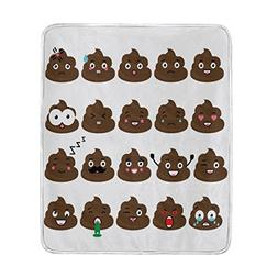 Cooper girl Cute Poop Emoji Throw Blanket Soft Warm Bed Couc