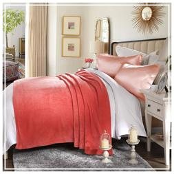 HYSEAS Coral Fleece King Size Plush Bed Blanket, Coral New